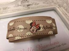 1.5 Metre Minnie Mouse Nude Beige Grosgrain Ribbon Designer 22mm Cakes Bow