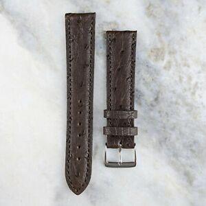 Genuine Ostrich Leather Watch Strap - Dark Brown - 18mm/20mm