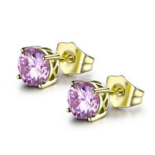 HUCHE Classic Round Pink Diamond Sapphire Gold Filled Stud Lady Lovely Earrings