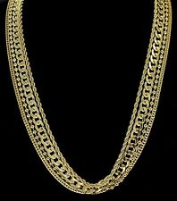 Hip Hop 4 Chain Set 14k Gold Plated Bead Rope Franco Cuban Necklaces
