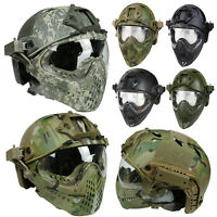 Military Tactical Protective Fast Helmet Airsoft Paintball with Mask&Goggle Lens