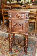 French Dark Walnut Louis XIII Antique Nightstand / Side Table Lamps
