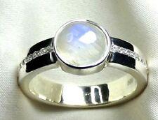 Mondstein Bergkristall Ring 925 Silber Gr 18,4 (58) mod. Design beste Qualität