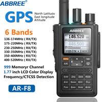 ABBREE AR-F8 GPS 6 Bands(136-520MHz) 8W IP55 VOX 999CH Amateur Ham Two Way Radio