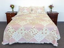 French Country Vintage Inspired Patchwork Bed Quilt Sarah Rose Queen New Cove...