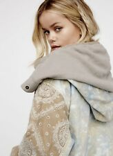 Free People Jacket Coat Hood Parka taupe tan Tie Dye Embroidered S New