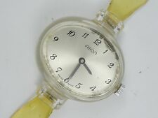 RARE 60s MODERNIST AGON SWISS ACRYL SEE THRU BACK LADIES MECHANICAL WATCH *WORKS