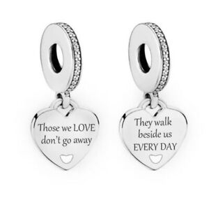THOSE WE LOVE MEMORIAL HEART CHARM GENUINE 925 STERLING SILVER GIFT 💜💛💜