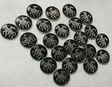 LOT 12 boutons anciens en verre noir motif fer à cheval diamètre 1,1 cm ref 1588