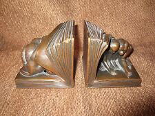 VINTAGE JENNINGS BROS. BRONZE METAL MONKEY ART SCULPTURE BOOKENDS 1930's