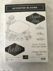Stampin Up clear-Mount Rubber Stamp Set ACCENTED BLOOMS