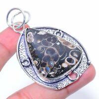 "Turtilla Fossil Gemstone Handmade Ethnic Jewelry Pendant 2.17"""