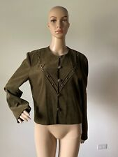 Karin Stevens Olive Army Green Jacket Collarless Embellished Beads Buttons 12 /L