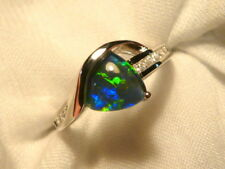 Opal Ring Ladies Sterling Silver 925 & CZ, 8x 8mm Trillion Triplet. item 070319.