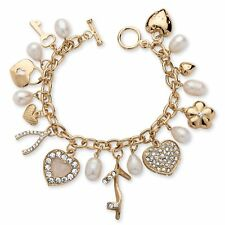 PalmBeach Jewelry Cultured Freshwater Pearl and Crystal Bracelet in Gold Tone