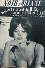 BRIGITTE BARDOT en BRUNE en COUVERTURE de NOIR et BLANC de 1961