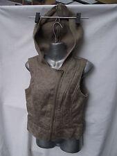 BNWT Ladies Sz 22 UK F&F Brand Brown Zip Front Fleece Lined Hooded Aviator Vest