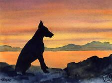 Doberman Pinscher Dog Watercolor 8 x 10 Art Print by Artist Djr