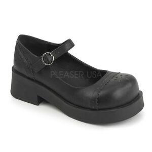 Demonia CRUX-07 Platform Sandals Black Rockabilly Mary Jane Goth Punk Shoes