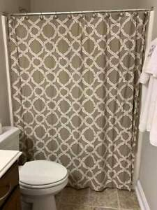 Pottery Barn MARLO Moroccan Fretwork Geometric Shower Curtain Neutral beige