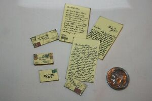 Miniature Dollhouse 7 Pieces of Mail 3 Page Letter & Postmarked Envelopes 1:12