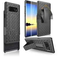 For Samsung Galaxy Note 8 Belt Clip Holster Case with Tempered Glass Protector