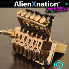New Gold Locking Tremolo w Brass Block & Hardened Steel Floyd Rose Lic Bridge