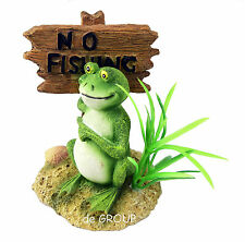 No Fishing Frog Antique Figurine Ornament - fish tank reptile cage garden decor