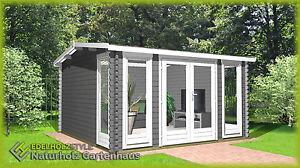 Gartenhaus aus Holz Modern 40mm, 3.9x3M, 40mm Blockhaus, Werne EB40040F18L