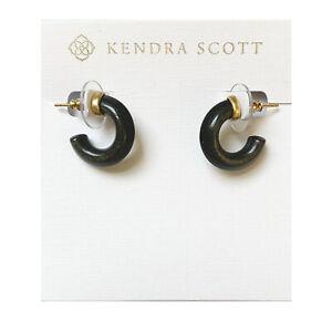 Kendra Scott Mikki Huggie Hoop Earrings in Golden Obsidian and Vintage Gold