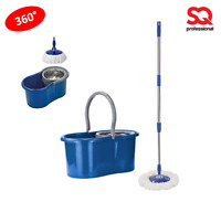 Pedal Bucket and Microfiber Rotary Spin Swivel Mop Clean Set Extendable Blue