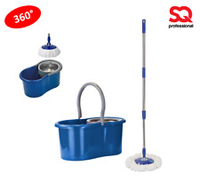 Cubo de pedal y MICROFIBRA FREGONA GIRATORIA SPIN Giratoria limpia conjunto extensible azul