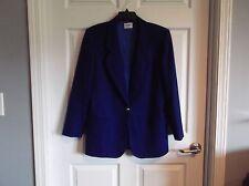 EUC Koret womens 8 royal blue blazer long sleeve 1 button 2 pkts, 100% wool -