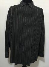 Bruno mens 4XL Tall  Brown Stripe Shirt Button long sleeve 100% cotton bias yoke