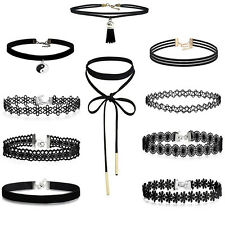10pcs Retro Gothic Black Lace Velvet Leather Stretch Choker Necklace Boho Summer