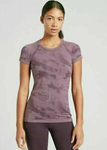 ATHLETA Momentum Tee Top Camo  L Large NEW Cascadia Violet  Workout Running