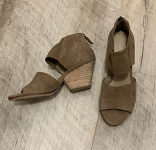 Eileen Fisher Women's Tan Suede Open Toe Sandal Heel Shoes Zipper Back 5 1/2
