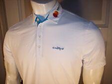 NEW Chervo Large White w/ Blue Trim Polyamide Golf Shirt Mastercard-HGS Logos