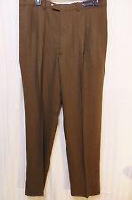 Robert Amerigo / Biella London Mens Pleated Dress Pants 38 x L 35 Brown Wool New