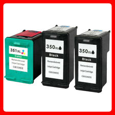 3 unbrand Fits hp 350XL 351XL Deskjet D4200 D4245 D4260 Black Ink Cartridge