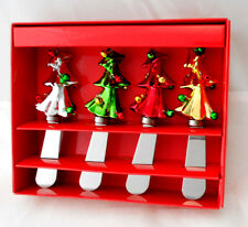 GANZ SPREADERS CHRISTMAS TREE W JINGLE BELL ORNAMENTS DIP CHEESE BUTTER SET OF 4