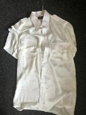 Men's Short sleve satin silk shirt with chest pockets and epaulettes Size L