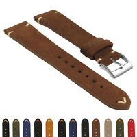 StrapsCo Suede Vintage Hand-Stitched Leather Watch Band - Quick Release Strap