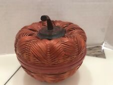 Rare Fine Vintage Chinese Woven Bamboo Basket Apple Shape Wooden Handle Lid