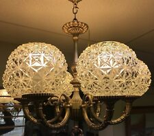 Old Handsome Six Light Crystal Globe Bronze Hanging Fixture