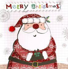 Caja de 5 Santa acabados a mano tarjetas de Navidad segunda naturaleza adornado Tarjeta De