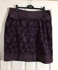 Weird Fish Aubergine Purple Floral Needlecord Short Skirt Sz 18 VGC