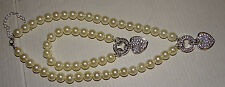 "Necklace 7"" flat Bracelet 2"" diameter bling jewels rhinestones beads hearts"