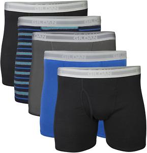 Gildan Men's Short Leg Boxer Briefs 5-Pack, Black/Royal/Charcoal/Stripe, X-Large