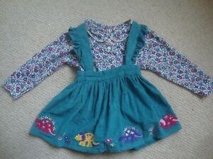 JoJo Maman Bebe baby girl's dinosaur dress & floral top age 12-18 months